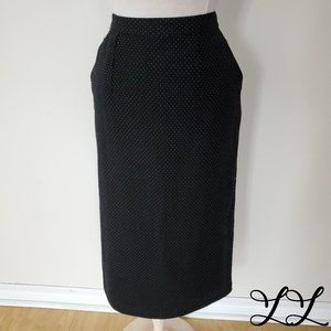 Vintage Louben Skirt Black White Wool Pencil Midi
